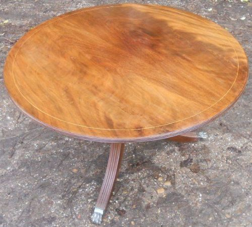 Large Circular Solid Mahogany Pedestal Coffee Table